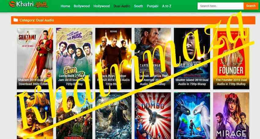 What kind of movies are available on Khatrimaza website
