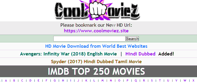 What kind of movies are available on Coolmoviez website?
