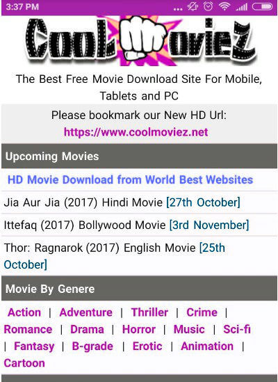 Is downloading movies from Coolmoviez 2020 valid?