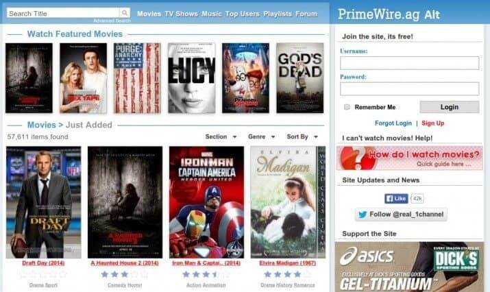 What kind of movies are available on Primewire website?