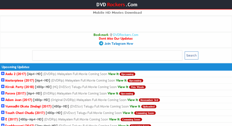 DVDRockers 2020: Watch Telugu Movies Online Download Latest Hindi Dubbed Movies from DVDRockers